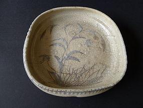 A rare Mino ware, E-Shino type  stoneware footed bowl