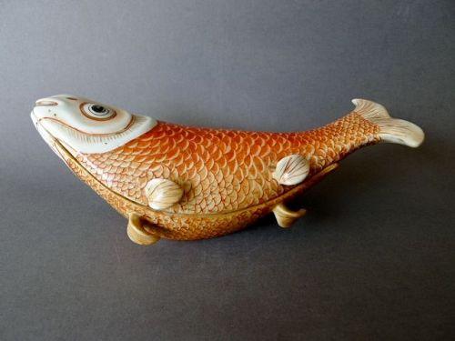An Qianlong export carp tureen and cover