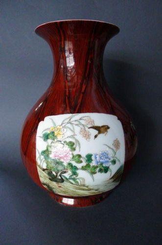 "A rare, Shengdetang marked famille-rose and ""Faux-Bois� vase"
