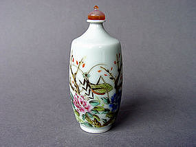 Nice rare shape Snuff Bottle with Grasshopper Design