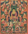 Early 19c Tibetan thangka SHAKYAMUNI with disciples & KINGS