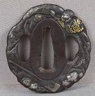 19c Japanese sword TSUBA SHOJO & pearl