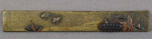 19c sentoku Japanese sword KOZUKA birds by stream
