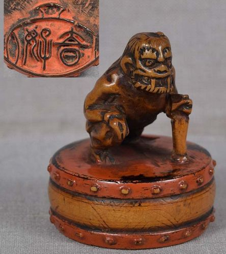 19c netsuke THUNDER GOD with drum HARUYOSHI
