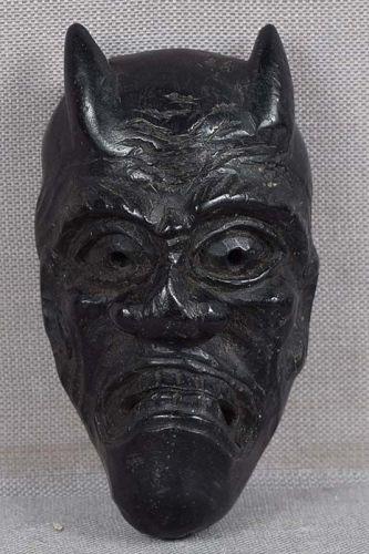 19c ebony netsuke DEMON HANNYA mask