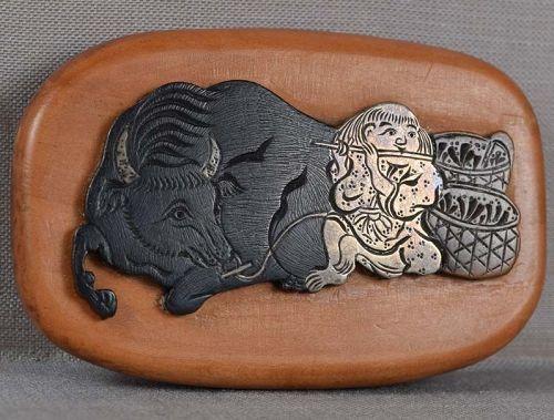 19c netsuke mixed metal BOY & buffalo