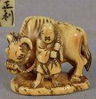 19c netsuke SAGE SOFU with ox by MASATOSHI