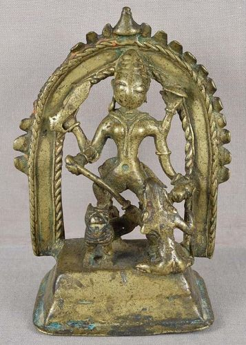 18c Indian bronze DURGA slaying demon Mahishasura