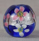 Japanese glass OJIME tombodama FLOWERS & silver foil