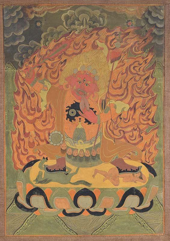 18c Tibetan thangka DHARMAPALA BEGTSE