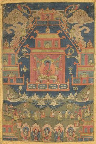 18c Tibetan thangka BUDDHA AMITABHA in SUKHAVATI