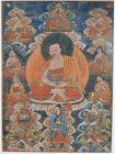 18c Tibetan thangka ARHAT KANAKA BHARADVAJA & 7 other arhat