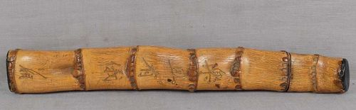 19c Japanese scholar bamboo BRUSH HOLDER inscribed