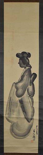1917 Japanese scroll painting GEISHA SILHOUETTE by YOSHIKUNI