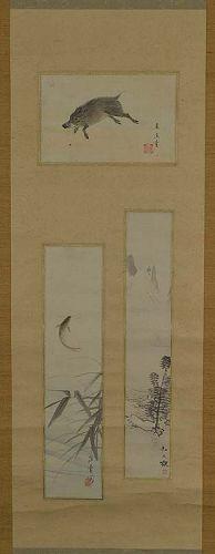 Japanese scroll 3 paintings BOAR CARP LANDSCAPE 3 artists