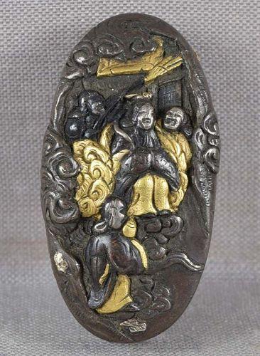 19c Japanese sword KASHIRA Goddess Benten with attendants