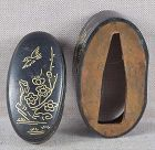 19c shakudo Japanese sword FUCHI KASHIRA birds & cherry trees
