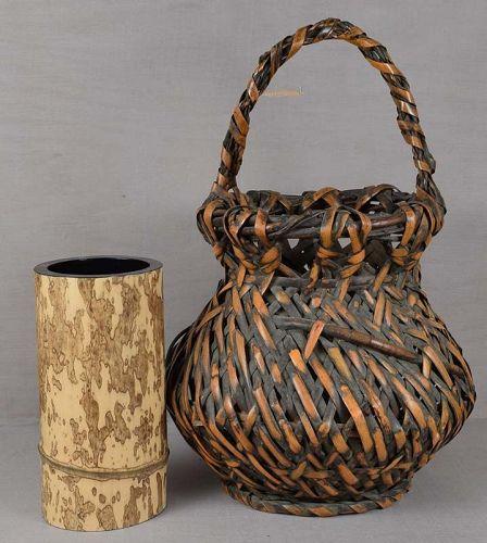 19c Japanese IKEBANA BASKET, spotted bamboo insert