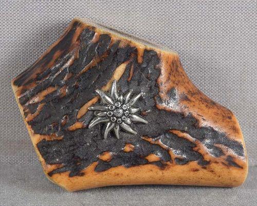 19c stag antler netsuke, silver CHRYSANTHEMUM