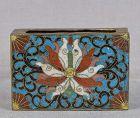 Meiji/Taisho Japanese cloisonne match box holder LOTUS