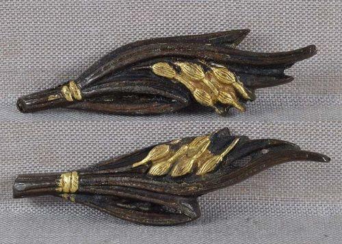 Pair 19c Japanese sword MENUKI RICE with STALKS