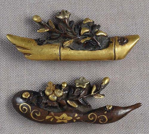 Pair 19c Japanese sword MENUKI IKEBANA vessels
