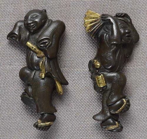 Pair 19c Japanese sword MENUKI samurai and merchant