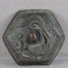 18c bronze SUIGARAAKE netsuke DRAGON & PEARL