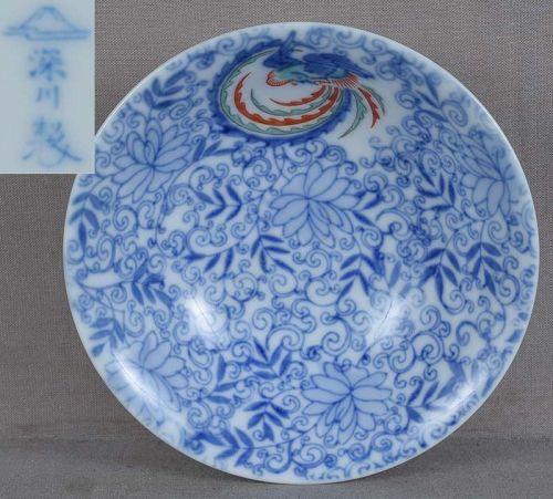 Japanese porcelain Fukagawa saucer PHOENIX & KARAKUSA