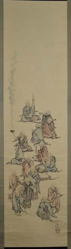 Japanese scroll painting 16 RAKAN disciples of Buddha by HIROKAMI