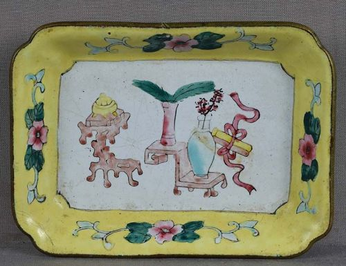 19c Chinese Canton enamel DISH scholar objects