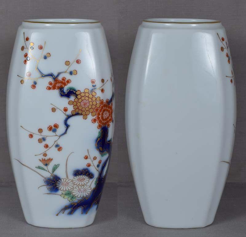 Japanese porcelain Fukagawa vase prunus