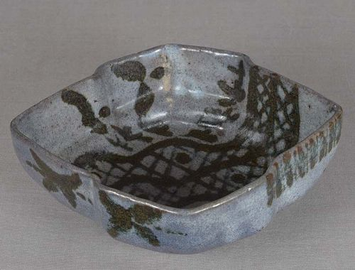 1910s Japanese ceramic tea ceremony KASHIKI nezumi Shino