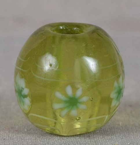 Japanese glass OJIME tombodama LEAVES & FLOWERS