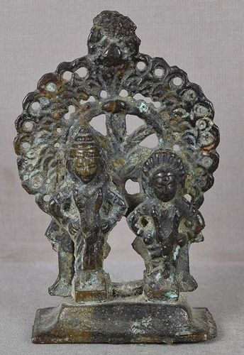 18c Indian bronze votive statue VITTHALI & RUKMINI