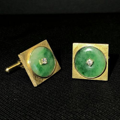 Vintage Mid-Century 14K Gold Diamond Natural Jadeite Cufflinks