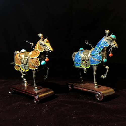 Vintage 20C Chinese Gilt Silver Enamel Coral Turquoise Horse Pair