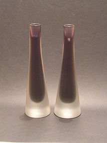 Modern glass incisio candle holder pair by Paolo Venini