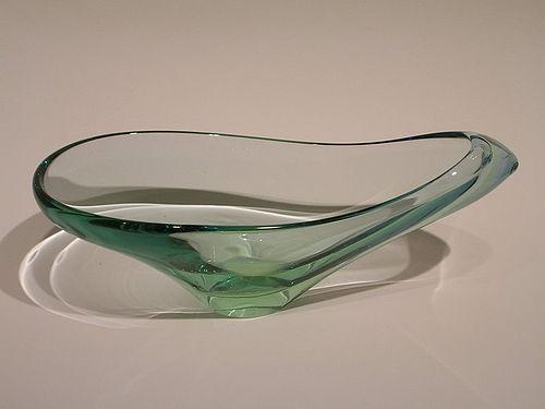 Modern glass sculptural bowl signed Seguso
