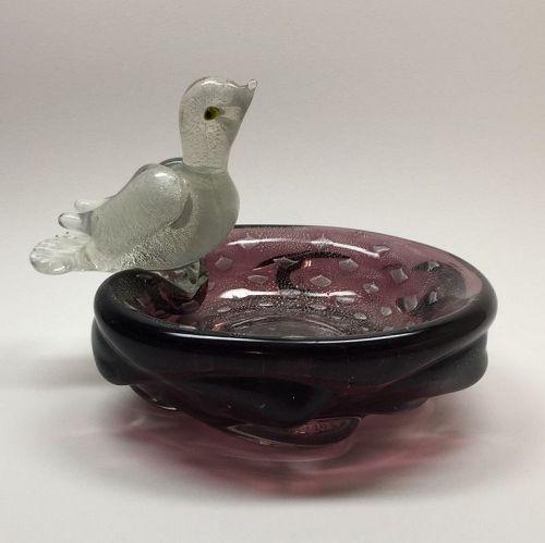 Murano Glass Bird on Bowl by Flavio Poli for Seguso Vetri d Arte