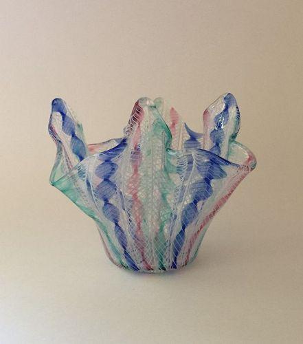Vintage Murano Glass Fazzoletto Bowl attr Archimede Seguso