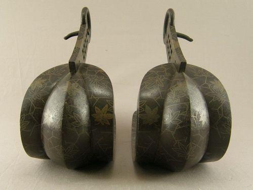 Pair Japanese Iron Horse Stirrups With Maple Leaf Design Edo Period