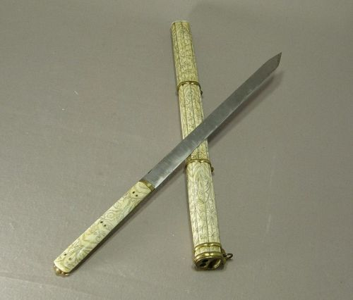 Chinese Eating Set Knife Chopstick Carrying Case Bone 19th Century