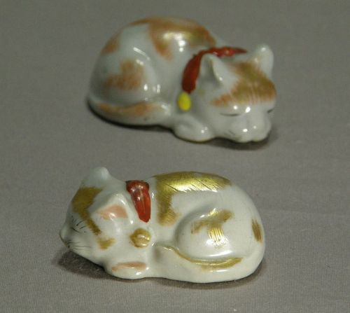 Two Rare Small Japanese Kutani Sleeping Cats Early 20th Century