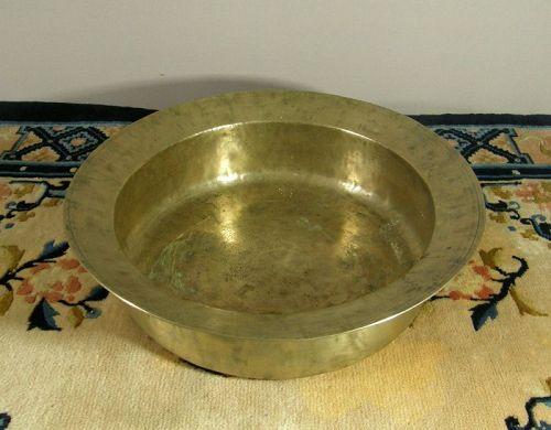 Antique Korean Wash Pan Pounded Brass Joseon Dynasty