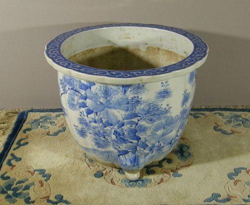Japanese Porcelain Cachepot Arita Blue White Meiji Period