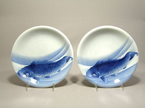 Pair Japanese Hirado Dishes Blue and White Fish Circa 1900