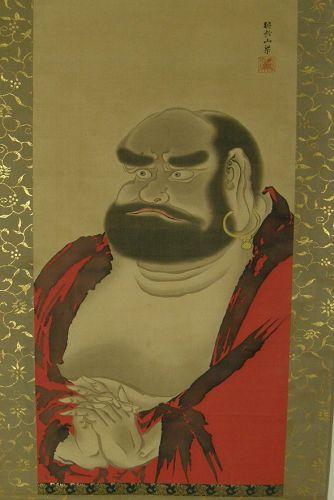 Antique Japanese Silk Scroll Buddhist Daruma Signed Meiji Period