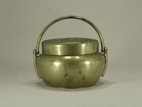 Chinese Brass Handwarmer Lid Handle Circa 1900
