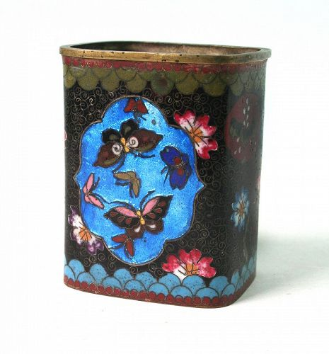 Antique Japanese Cloisonne Ginbari Brush Pot